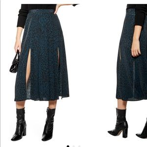topshop pleated leopard midi skirt